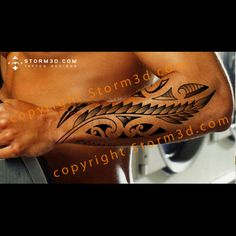 Maori silverfern tattoo design with tribal koru shapes - maori-fern-silverfern-koru-tattoo-forearm-lower-arm-New-Zealand -