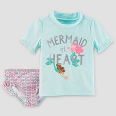 3d538f3588 Toddler Girls' Mermaid Rash Guard Set - Just One You™ Made by Carter's®  Turquoise