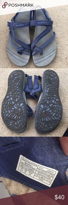 """LIKE NEW MERRELL SANDALS NUBUCK BLUE SIZE 10 LIKE NEW MERRELL SANDALS NUBUCK BLUE SIZE 10 NO SIGNS OF WEAR (MAY BE NEW? - I DON'T REMEMBER WHETHER I EVER WORE THEM OR NOT)  NUBUCK UPPER """"FREESIA""""  HOOK AND LOOP ADJUSTABLE STRAPS IN BACK AND ACROSS TOP Merrell Shoes Sandals"""