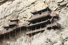 Built into the cliff side about 75 meter above the ground. By Zhangzhugang CC BY-SA 3.0