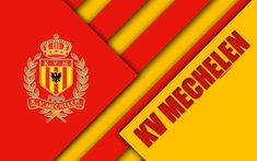 Download wallpapers KV Mechelen FC, 4k, Belgian football club, red yellow abstraction, logo, material design, Mechelen, Belgium, football, Jupiler Pro League