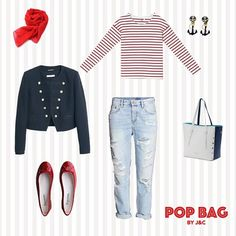 A sailor look for a trip out of town? Stripes, some accessories in style and a mix of the 3 colors that recall the navymood par excellence: white, blue and red. What do you think girls? #POPBAG #JC #ootd #navy