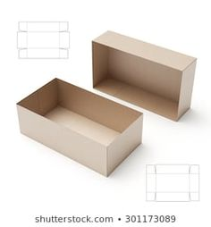 Imagens, fotos stock e vetores similares de Wide Box with Tuck Lid and Blueprint Template - 298903073 Box Packaging, Packaging Design, Cajas Silhouette Cameo, Crochet Bunny Pattern, Die Cut, Origami Design, Glass Etching, Birthday Cards, Tray