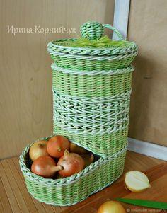 Купить Набор плетеных корзин для хранения лука, чеснока, картошки в интернет магазине на Ярмарке Мастеров
