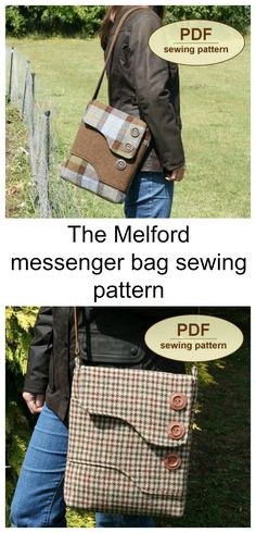 The Melford messenger bag sewing pattern. This vintage style messenger bag is awesome for everyday modern use.
