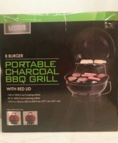 BBQ Grill Charcoal Portable 8 Burger New Living Solutions Living Solution 8 Burger portable charcoal BBQ grill with red LED 15.5 x 14.6 x 20.5 inch Porcelain coated cooking grate Folding legs and locking lid Ideal for tailgating camping and picnicking New