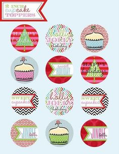 Cute free cupcake topper holiday images by partyboxdesigns.  Click on image to download from original site.
