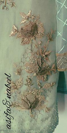 AsifaandNabeel Zardozi Embroidery, Tambour Embroidery, Hand Work Embroidery, Couture Embroidery, Embroidery Motifs, Gold Embroidery, Embroidery Fashion, Hand Embroidery Designs, Embroidery Dress