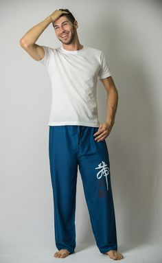 Chinese Writing Men's Thai Yoga Pants in Blue