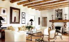 Pinned from Cote de Texas blog. This is a Santa Fe house interior but doesn't look at all like the typical Southwestern room. Wonderful!: