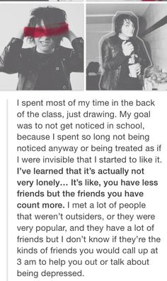 When Gerard was 15 and in MCR, he faced a lot of depression. Gerard's story makes me so sad every time