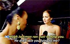 Jennifer Lawrence finding out Hugh Jackman ran to her rescue :) (it's GIFs) I'd be freaking out too!!