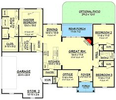 Split Bedroom House Plan With Open Floor Plan - 11797HZ | French Country, Traditional, Metric, 1st Floor Master Suite, Butler Walk-in Pantry, CAD Available, Den-Office-Library-Study, PDF, Split Bedrooms, Corner Lot | Architectural Designs