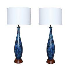1stdibs | Pair of Textural  Ceramic Lamps