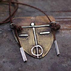 mask necklace - cobalt blue jewelry ewa lompe author.