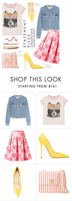 """Spring Statement"" by lisalockhart ❤ liked on Polyvore featuring Acne Studios, Gucci, P.A.R.O.S.H., Jimmy Choo and Chanel"