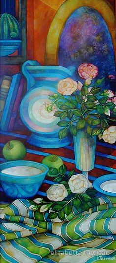 """still-life with apples and roses"" by elisabetta trevisan 