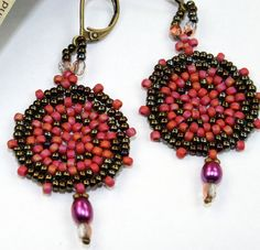 Seed bead earrings, Red and Brown dangle earrings, beadwork, peyote stitch disc with pearls, handmade ready to ship