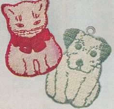 Vintage Crochet PATTERN to make - Pot Holder Cat Dog Kitten Puppy Hot Pads. NOT a finished item. This is a pattern and/or instructions to make the item only.
