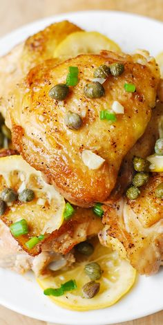 Chicken Thighs baked with capers, lemon, and garlic - fast, super easy, flavorful weeknight chicken dinner.