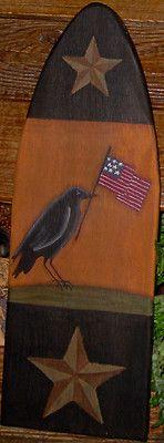 ~*primitive*~*hp folk art crow *~* flag *~* barn star *~* americana*~*stretcher