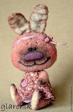 Темби (кролик) - авторская игрушка,кролик,друзья тедди,вискоза,гранулят металлический