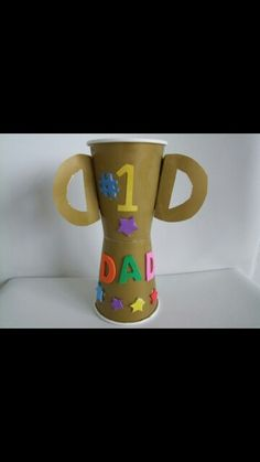 Fathers day trophy made out of plastic cups!