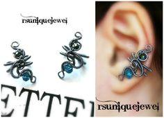No Piercing Earrings Cartilage Ear Cuff Goth ear by rsuniquejewel