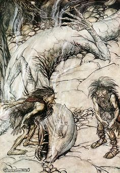 The dwarfs quarrelling over the body of Fafner flames (1911), by Arthur Rackham (1867-1939), from Act 2 of Siegfried (1871), by Richard Wagner (1813-1883).