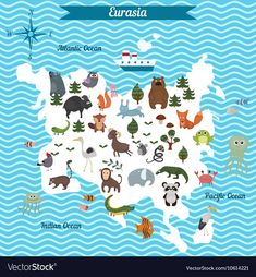 Cartoon map of eurasia continent with different animals. colorful cartoon illustration for children and kids Geography For Kids, Maps For Kids, Teaching Geography, World Map Mural, Kids World Map, Learning The Alphabet, Kids Learning, North America Map, Les Continents