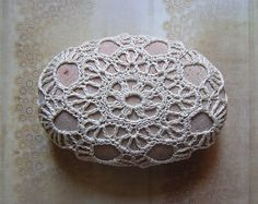 Wedding Table Decorations Original Crochet Lace Stone by Monicaj, $45.00