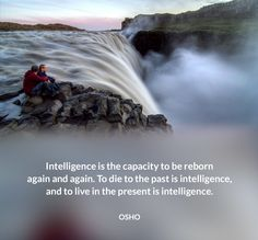 Intelligence is the capacity to be reborn again and again. To die to the past is intelligence, and to live in the present is intelligence. OSHO