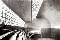 Eduardo Torroja - One of his major creations was the roof of the Frontón Recoletos in Madrid a unique two lobe thin shell that was destroyed during the Spanish Civil War. Concrete Architecture, Cultural Architecture, Space Architecture, Amazing Architecture, Architecture Details, Shell Structure, Concrete Structure, Arch Interior, Interesting Buildings