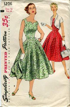 Simplicity 1206 Vintage Classic 1950s Dress