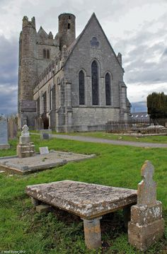 St Macuilin's Church and part of its cemetery in the town of Lusk, North County Dublin.