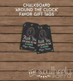 Around The Clock Matching Favor Gift Tags By SoutherlyPost 600