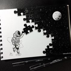 Puzzle My little astronaut is so busy.- Puzzle 👀 Mein kleiner Astronaut ist so beschäftigt. – Puzzle 👀 My little astronaut is so busy. Space Drawings, Cool Art Drawings, Pencil Art Drawings, Art Drawings Sketches, Random Drawings, Tumblr Drawings, Beautiful Drawings, Art And Illustration, Ink Illustrations