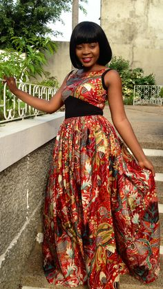 ♥African Fashion: SPOTTED IN VLISCO | Togolese artist @coco van m in a beautiful gala gown made from glossy 'Celebrate' Java fabrics.