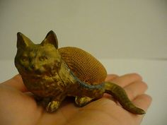 Antique English Victorian Figural Metal Cat Sewing Pin Cushion