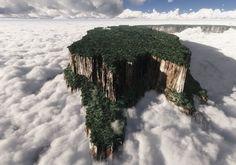 Monte Roraima Tepuy. El Monte Roraima, también conocido como Tepuy Roraima o Cerro Roraima, es una montaña de 2.810 metros de altura localizada en la sierra sudamericana de Pacaraima, en la frontera entre Venezuela, Brasil y Guyana. La cima es una meseta de 31km² rodeada por unos acantilados de 400 metros de altura, lo que le da un aspecto realmente espectacular.