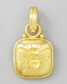Elizabeth Locke handcrafted 19 k gold pendant.  She must have had the ancient art family in mind named Medici when she made this because their family symbol was the Bee. It is why Bernini placed gold bees around the Pope's baldaccino in St. Peters Rome, Italy.  His gold was harvested from the roof of the Pantheon in Rome to crs craft the giant pillars. From 1633 I believe if my art history is still intact.  Malone T. Davidson.