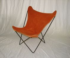 Butterfly chair, iron frame and canvas seat