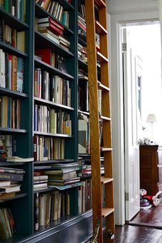 Foster Huntingdon / A Restless Transplant {library / shelving} by recent settlers, via Flickr
