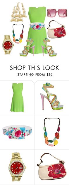 """Untitled #7098"" by billyblaze ❤ liked on Polyvore featuring Versace, Christian Louboutin, Oscar de la Renta, One Button, Rolex, Coach and Gucci"