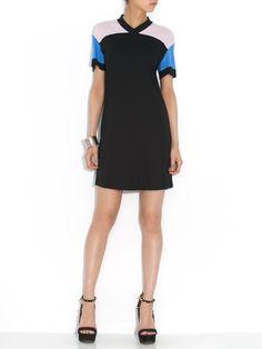FRIENDS & ASSOCIATES - dax カラーブロックVネック 半袖ドレス