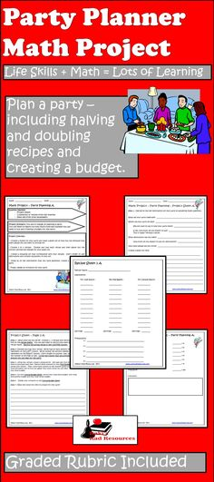 Let your students plan a party and learn math at the same time - great for… Math Work, Fun Math, Maths, Math Math, Math Resources, Math Activities, Math Enrichment, Teaching Math, Teaching Ideas