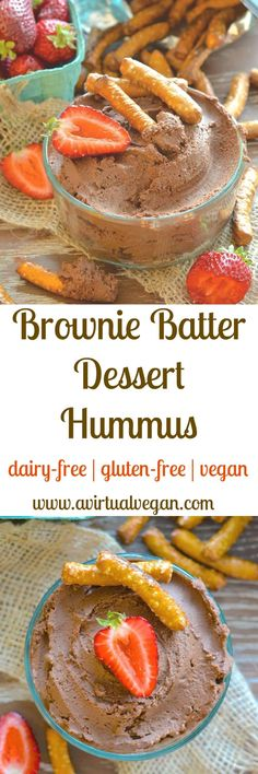 This is what happens when a beautiful chocolate brownie and a handsome can of chickpeas have a secret love child……Yes it's Brownie Batter Dessert Hummus….Yes it is amazingly delicious….And yes dessert hummus is a thing!  via @avirtualvegan