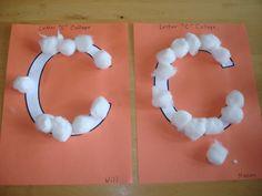 letter c craft activities -cotton ball