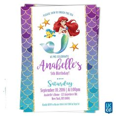 Little Mermaid Birthday Invitations Sea Party Kids Invitation Ideas