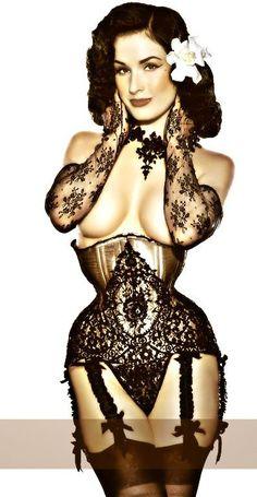 Dita Von Teese in a Dark Garden Corset - Love their corsets. I had my Wedding Corset Custom Made by Dark Garden in San Francisco